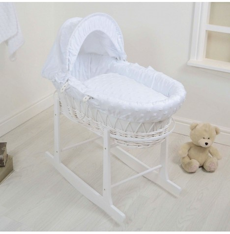4Baby Deluxe White Wicker Moses Basket & Rocking Stand - Dimple Stars White