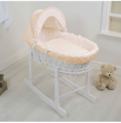 4Baby Deluxe White Wicker Moses Basket & Rocking Stand - Dimple Stars Cream