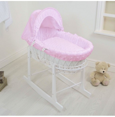4Baby Deluxe White Wicker Moses Basket & Rocking Stand - Dimple Stars Pink