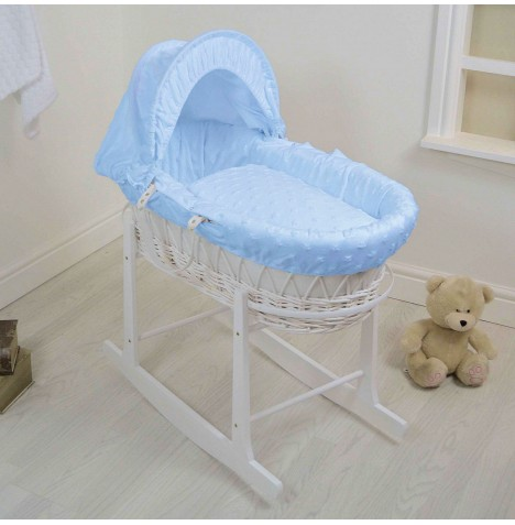 4Baby Deluxe White Wicker Moses Basket & Rocking Stand - Dimple Stars Blue