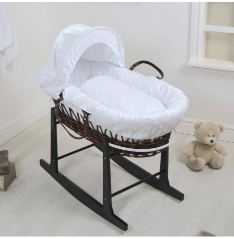 4Baby Deluxe Dark Wicker Moses Basket & Rocking Stand - Dimple Stars White