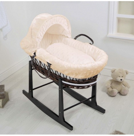 4Baby Deluxe Dark Wicker Moses Basket & Rocking Stand - Dimple Stars Cream