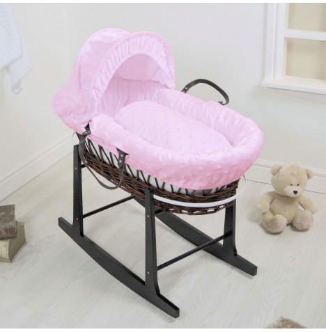 4Baby Deluxe Dark Wicker Moses Basket & Rocking Stand - Dimple Stars Pink