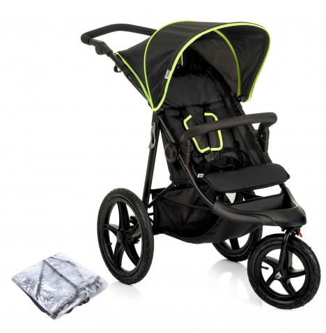 Hauck Runner 3 Wheel Pushchair - Black / Neon Yellow