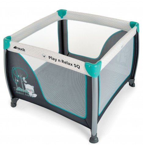 Hauck Play N Relax Large Square Travel Cot / Playpen - Forest Fun