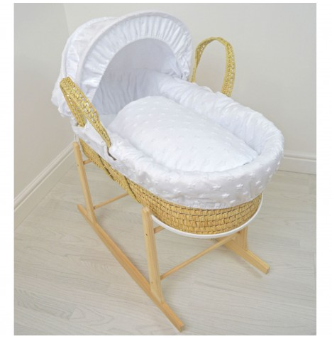 4baby Deluxe Palm Moses Basket & Rocking Stand - Soft Stars White..