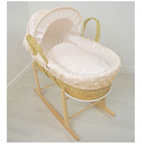 4baby Deluxe Palm Moses Basket & Rocking Stand - Soft Stars Cream..