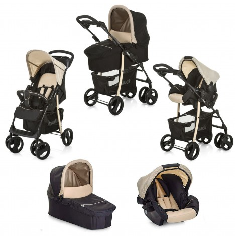 Hauck Shopper SLX Trio Set Travel System - Caviar / Beige