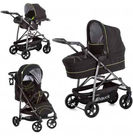 Hauck Rapid 4S Plus Trio Set Travel System - Caviar / Neon