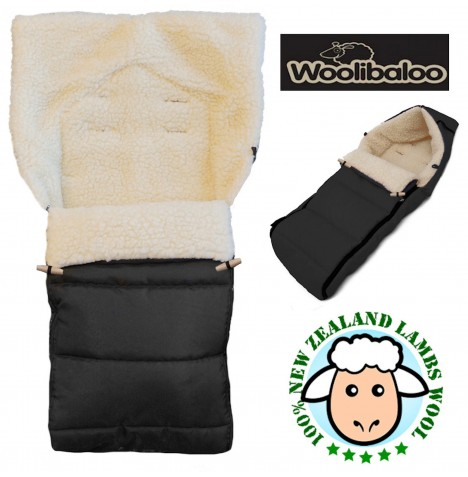 Woolibaloo 100% Luxury New Zealand Lambswool Footmuff / Cocoon - Black