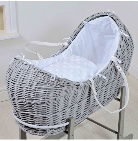 4baby Grey Wicker Snooze Pod - Dimple Stars White