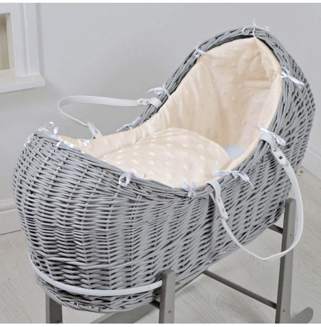 4baby Grey Wicker Snooze Pod - Dimple Stars Cream