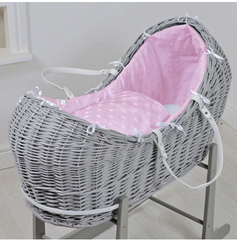 4baby Grey Wicker Snooze Pod - Dimple Stars Pink