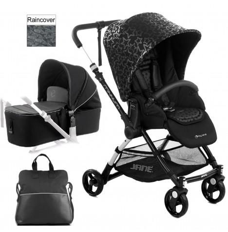 Jane Minnum Pushchair & Micro Carrycot - Black Stars