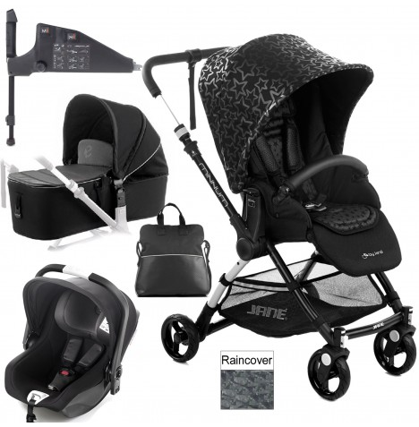 Jane Minnum iKoos (iSize) Travel System & Micro Carrycot - Black Stars
