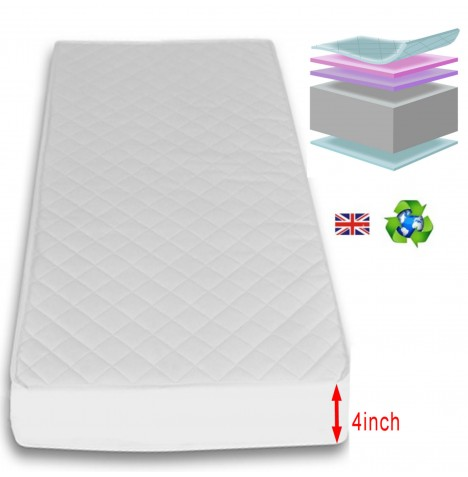 4Baby 4 Inch Deluxe Foam Cot Bed Safety Mattress 140 x 69cm