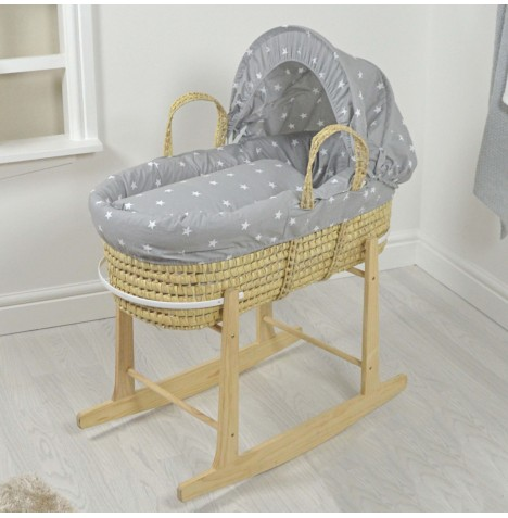 4baby Deluxe Palm Moses Basket & Rocking Stand - Grey / White Stars..