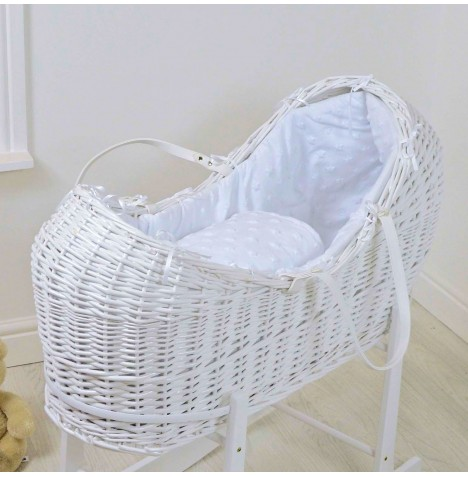 4baby White Wicker Snooze Pod - Dimple Stars White