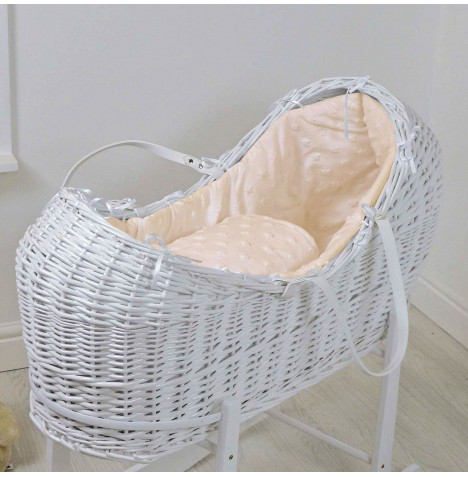 4baby White Wicker Snooze Pod - Dimple Stars Cream