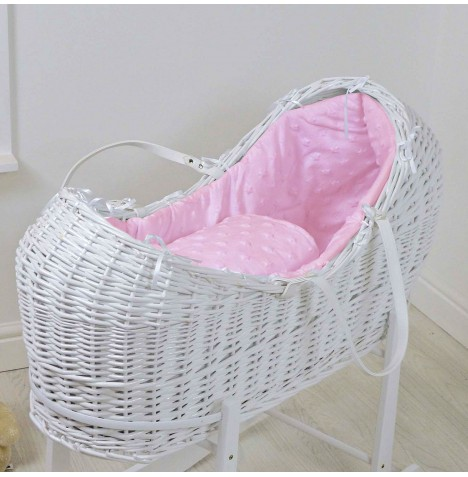 4baby White Wicker Snooze Pod - Dimple Stars Pink