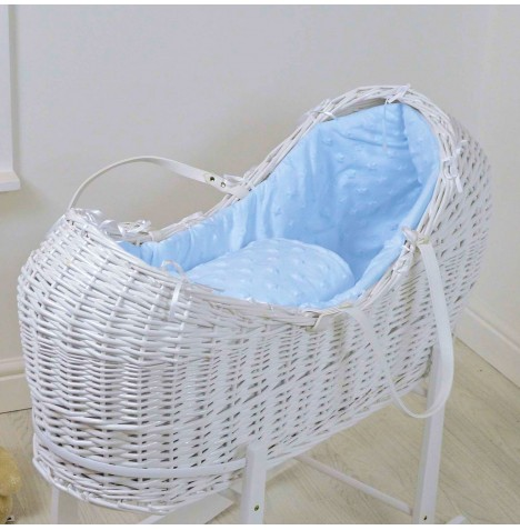 4baby White Wicker Snooze Pod - Dimple Stars Blue