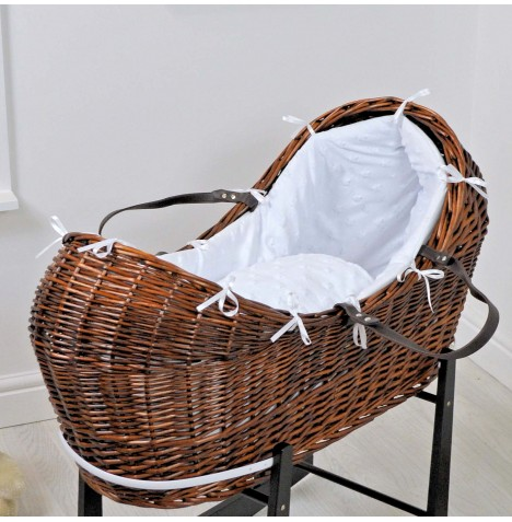 4baby Dark Wicker Snooze Pod - Dimple Stars White