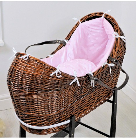 4baby Dark Wicker Snooze Pod - Dimple Stars Pink