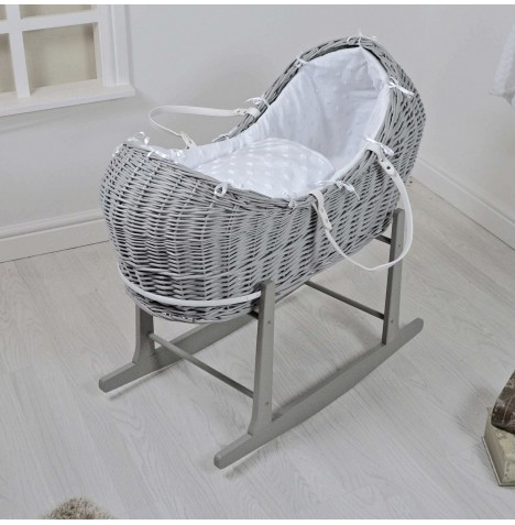 4baby Grey Wicker Snooze Pod & Rocking Stand - Dimple Stars White