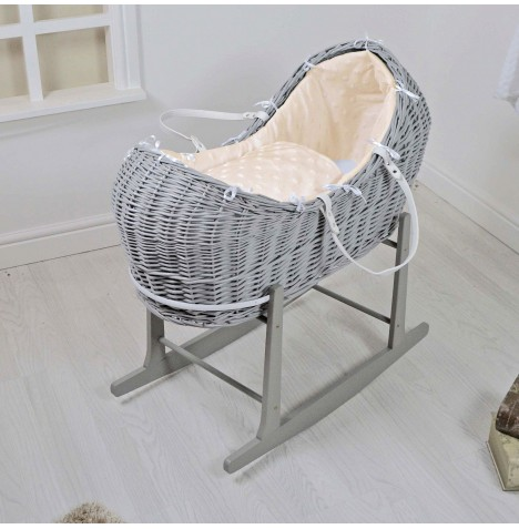 4baby Grey Wicker Snooze Pod & Rocking Stand - Dimple Stars Cream