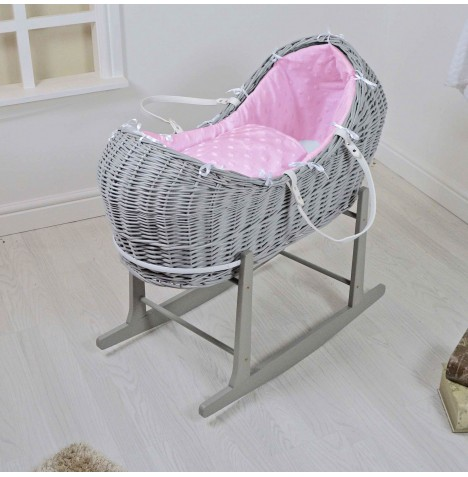 4baby Grey Wicker Snooze Pod & Rocking Stand - Dimple Stars Pink
