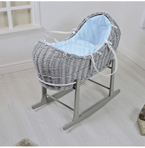 4baby Grey Wicker Snooze Pod & Rocking Stand - Dimple Stars Blue