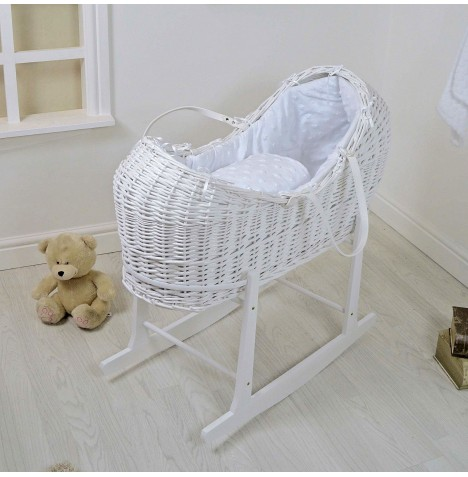 4baby White Wicker Snooze Pod & Rocking Stand - Dimple Stars White