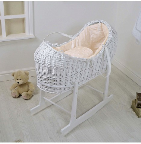 4baby White Wicker Snooze Pod & Rocking Stand - Dimple Stars Cream