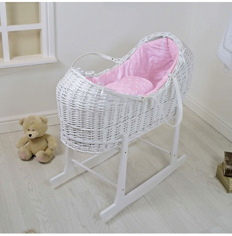 4baby White Wicker Snooze Pod & Rocking Stand - Dimple Stars Pink