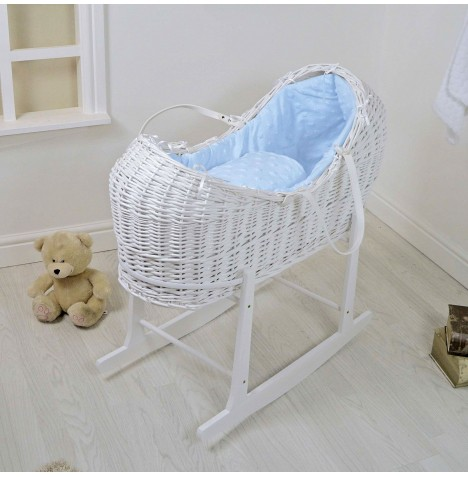 4baby White Wicker Snooze Pod & Rocking Stand - Dimple Stars Blue