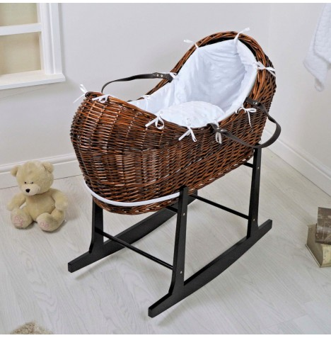 4baby Dark Wicker Snooze Pod & Rocking Stand - Dimple Stars White