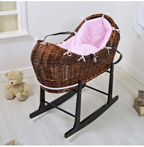 4baby Dark Wicker Snooze Pod & Rocking Stand - Dimple Stars Pink