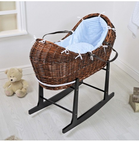 4baby Dark Wicker Snooze Pod & Rocking Stand - Dimple Stars Blue