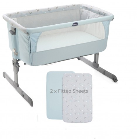 Chicco Limited Edition Next 2 Me Crib With 2 Fitted Sheets - Sky