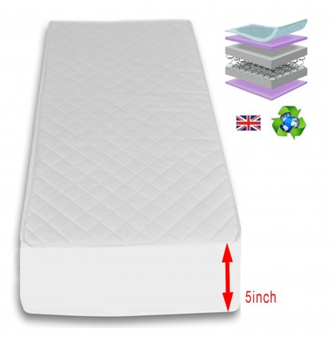 4Baby 5 Inch Luxury Sprung Cot Bed Safety Mattress 140 x 69cm