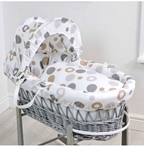 4baby Deluxe Grey Wicker Moses Basket - Grey Bubbles