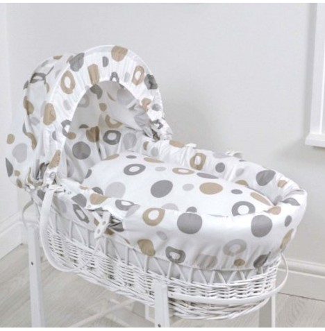 4baby Deluxe White Wicker Moses Basket - Grey Bubbles