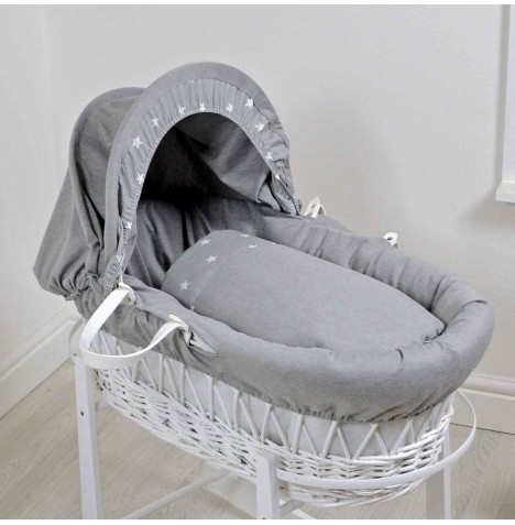4baby Deluxe White Wicker Moses Basket - Galaxy Grey