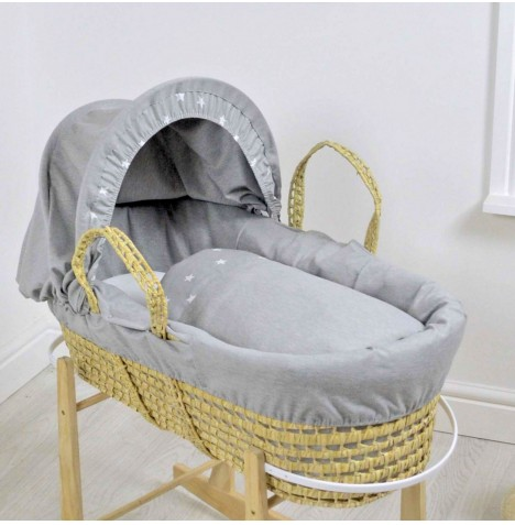 4baby Deluxe Palm Moses Basket - Galaxy Grey
