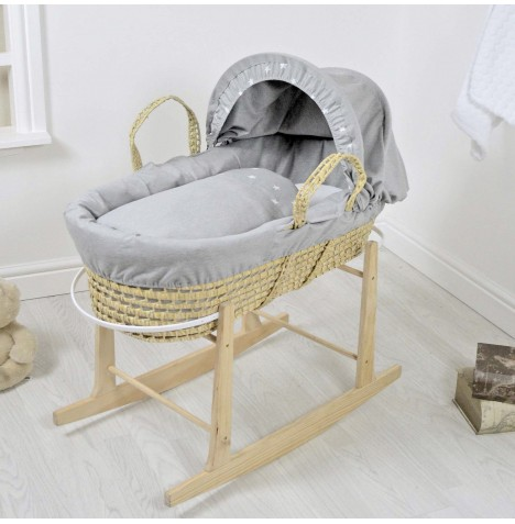 4baby Deluxe Palm Moses Basket & Rocking Stand - Galaxy Grey