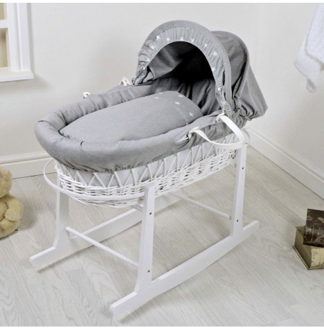 4Baby Deluxe White Wicker Moses Basket & Rocking Stand - Galaxy Grey