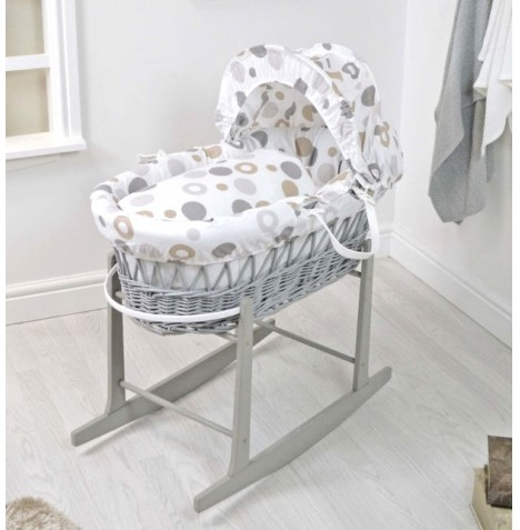 4Baby Deluxe Grey Wicker Moses Basket & Rocking Stand - Grey Bubbles