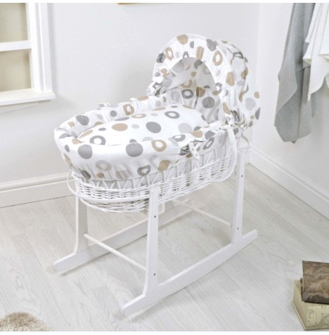 4Baby Deluxe White Wicker Moses Basket & Rocking Stand - Grey Bubbles