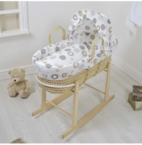 4baby Deluxe Palm Moses Basket & Rocking Stand - Grey Bubbles