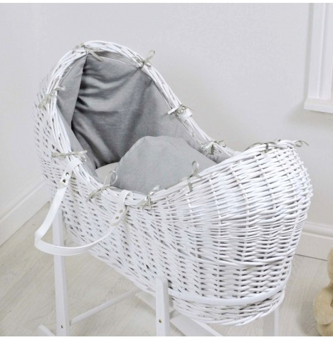 4baby Deluxe White Wicker Snooze Pod - Soft Grey